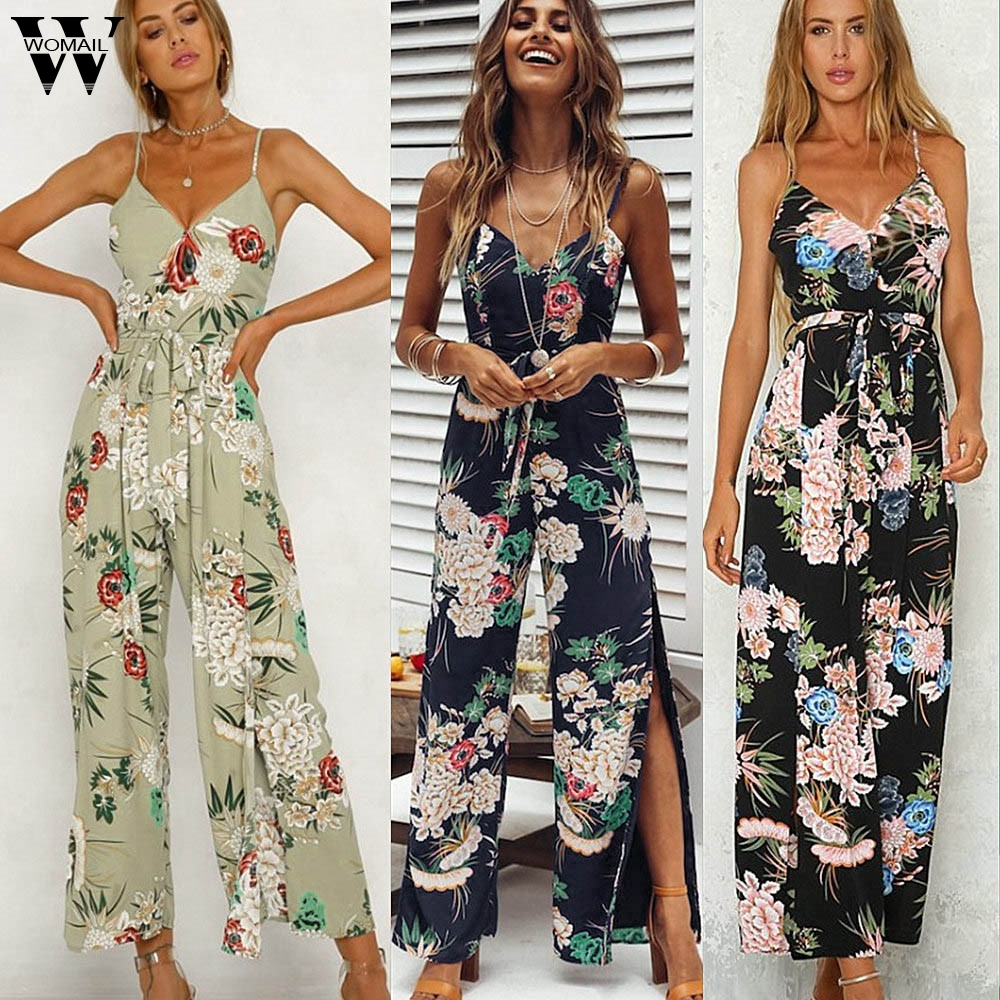 Womail bodysuit Women Summer Fashion Strappy Floral Slit Long Trouser Playsuits   Jumpsuit   Rompers Holiday new 2019 dropship M4