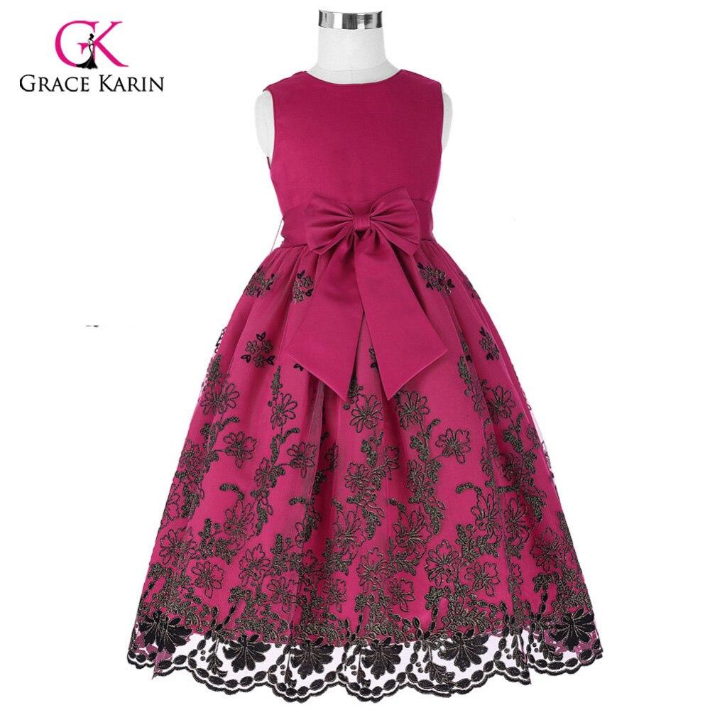 Flower Girl Dresses Long First Communion Dress Bow Tulle Girls