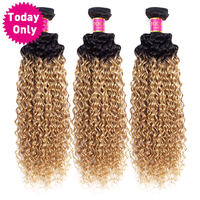 TODAY ONLY Mongolian Kinky Curly Hair 3 Bundles Blonde Human Hair Extensions Ombre Human Hair Bundles Two Tone 1b 27 Remy Hair