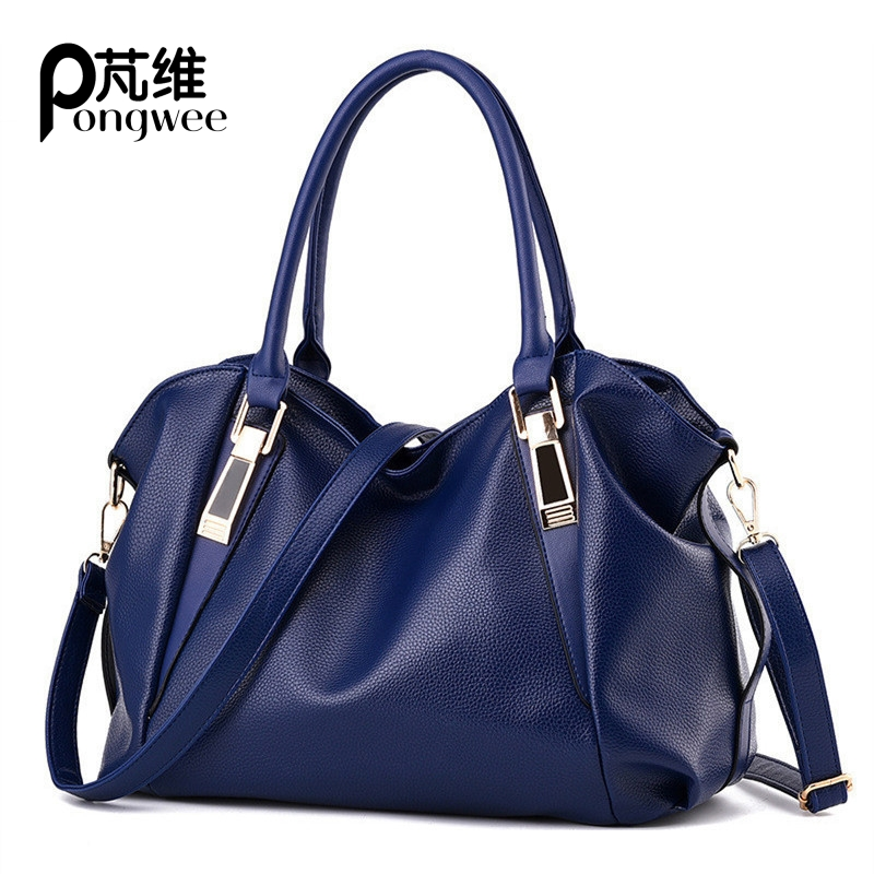 PONGWEE New Woman Bag PU high capacity leisure solid color soft shoulder Woman Handbag Mobile phone documents 2016 summer mix color cloth art shoulder woman bag leisure packages exclusively for export national bag