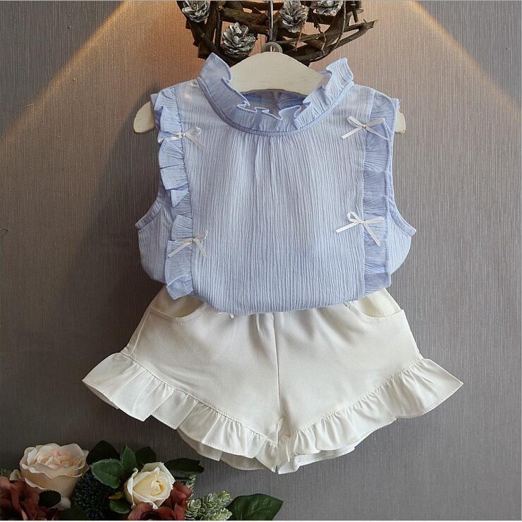 fded9e20977 Aliexpress.com  Acheter 2 8 ans enfants vêtements pour filles la jupe arc  et dentelle Top costume d été Style coréen enfants vêtements ensembles bébé  enfant ...