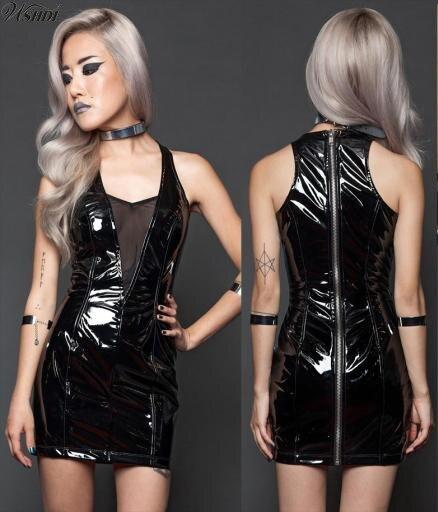 Sexy PVC Leather Wet Look Mini Dress Sleeveless With Zipper Bodycon Catsuit Bondage Clubwear Pole Dance Costume Sexy Latex Dress