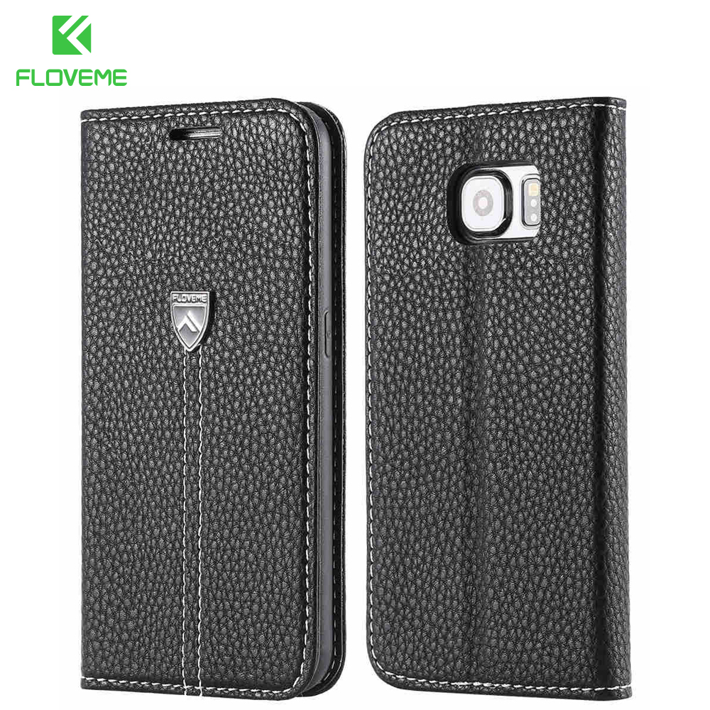 FLOVEME For Galaxy S6 Case Flip Business Genuine Leather Case For Samsung Galaxy S6 Case G9200