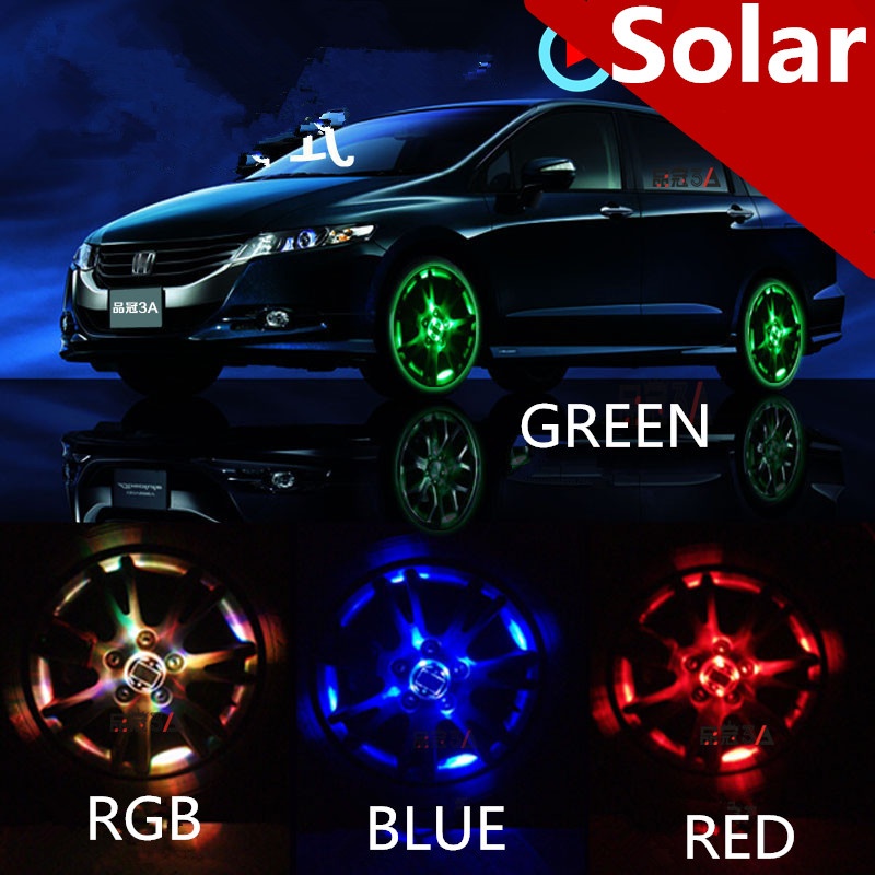 2Pcs 4 Model Auto Accessories Colorful RGB Waterproof Flash Lights Led Lights For Car Rims Solar Power Wheel Lamp 2pcs colorful pocket solar power calculator