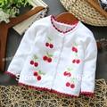 Весна осень девочки свитер младенцы одежда дети вязаный свитер младенцы верхняя одежда cherry кардиган свитер вязание рубашка