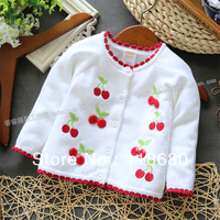 New 2013 Spring Autumn Girls Sweater Baby Clothes Kids Knitted Sweater Baby Outerwear Cherry Cardigan Sweater