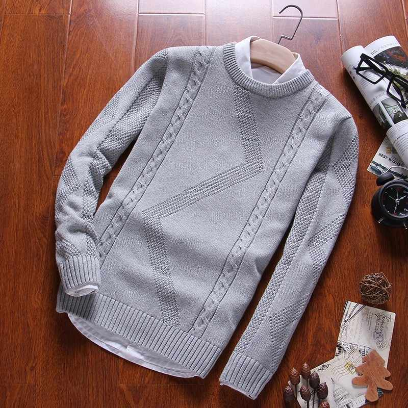 Varsanol Men's Sweater Pullovers O Neck Cotton Knit Sweater Coat Winter Casual Long Sleeve Sweaters Homme Knitting Solid Tops