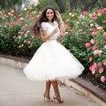 2017 Vestido De Noiva Casamento 2 Piece Wedding Dress Ball Gown Scoop Short Sleeves Knee Length Lace Tulle Bride Dresses