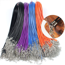 20pcs 45/60cm Adjustable Leather Wax Cord DIY Handmade Braided Rope Necklaces Pendant Charms Lobster Clasp String Jewelry Making