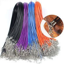20pcs 45/60cm Adjustable Leather Wax Cord Handmade Braided Rope Necklaces Pendant Charms Lobster Clasp String Jewelry