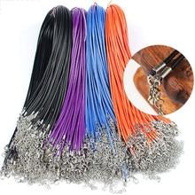 20 pièces 45/60cm réglable en cuir cire cordon bricolage à la main tressé corde colliers pendentif breloques homard fermoir chaîne fabrication de bijoux