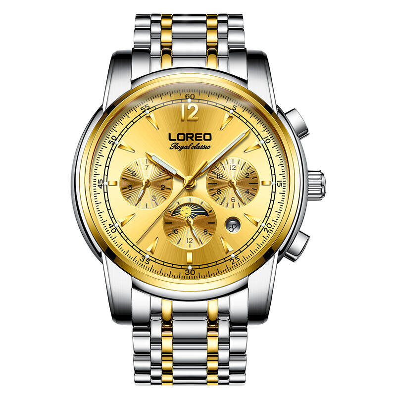 LOREO 6105 Germany watches automatic mechanical moon phase sapphire luminous golden Business sports relogio masculinoLOREO 6105 Germany watches automatic mechanical moon phase sapphire luminous golden Business sports relogio masculino