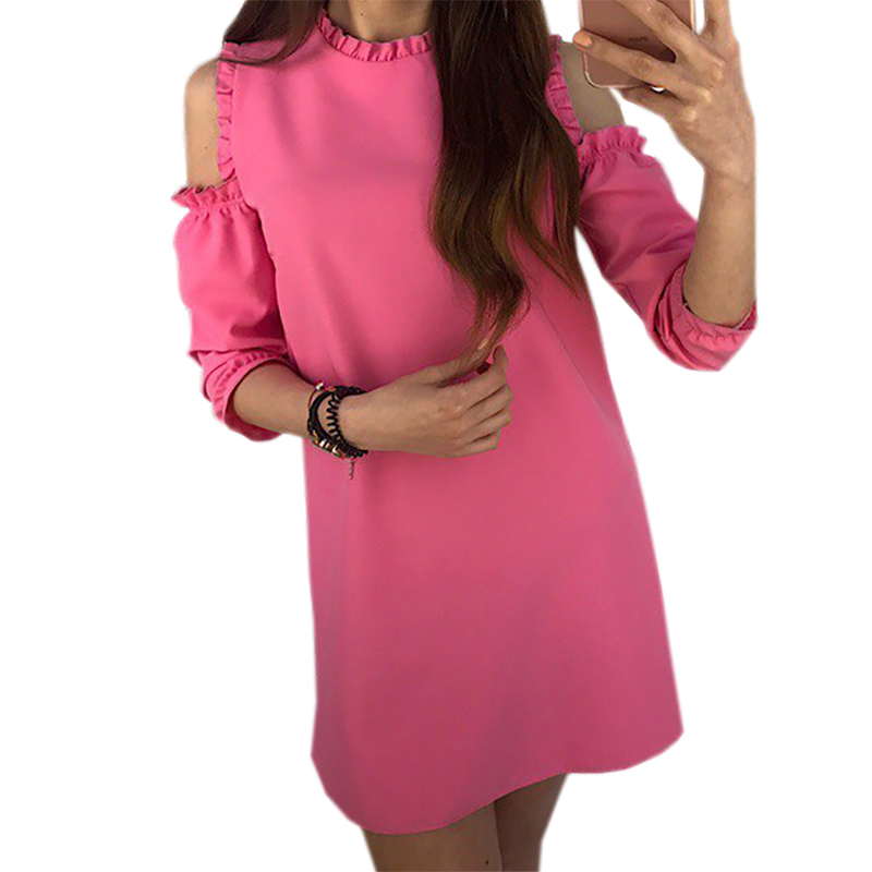 Kawaii Puff Sleeve Ruffles Mini Dresses Women Plus Size Dress 2018 Female Autumn Loose Casual Vestido De Festa Vestidos in Dresses from Women 39 s Clothing