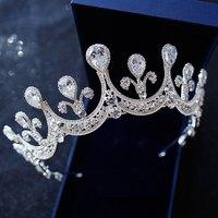Romantic Princess Silver Crown Tiaras For Bridal Wedding Hair Jewelry Gothic Rhinestone Crystal Hairpins Hearwear Tiaras XL075