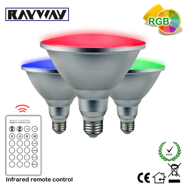 RAYWAY AC85V-265V LED Par38 RGB spot light 20W dimmable Aluminum waterproof light bulb remote Control RGB lighting Free Shipping