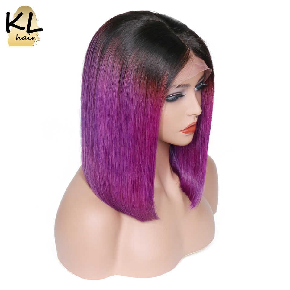 KL Ombre Цвет боб парики Фиолетовый кружева фронта человеческих волос парики прямые бразильские волосы remy короткие боб парики предварительно сорвал с волосами младенца