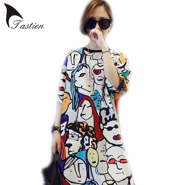 2016 New Women Long Dress Round Neck Women Clothing Charactor Loose Dresses Bodycon Casual Fat Mori Girl Sexy Dress Plus Size