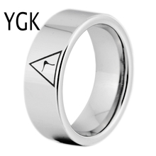 YGK Brand JEWELRY 8MM Width 14th Degree MASONIC Silver Color Pipe Cut Tungsten Carbide Ring for Man and Woman's Wedding