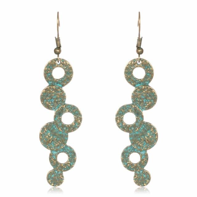 Showtrue 2017 Verdigris Patina Dangle Earrings Simple Design Round Long Hanging For Women Whole
