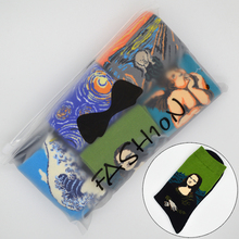 5 Pair/set Famous Oil Painting Mona Lisa Art Women Socks Cotton Harajuku Fashion Funny Girls Long Socks with Gift Bag