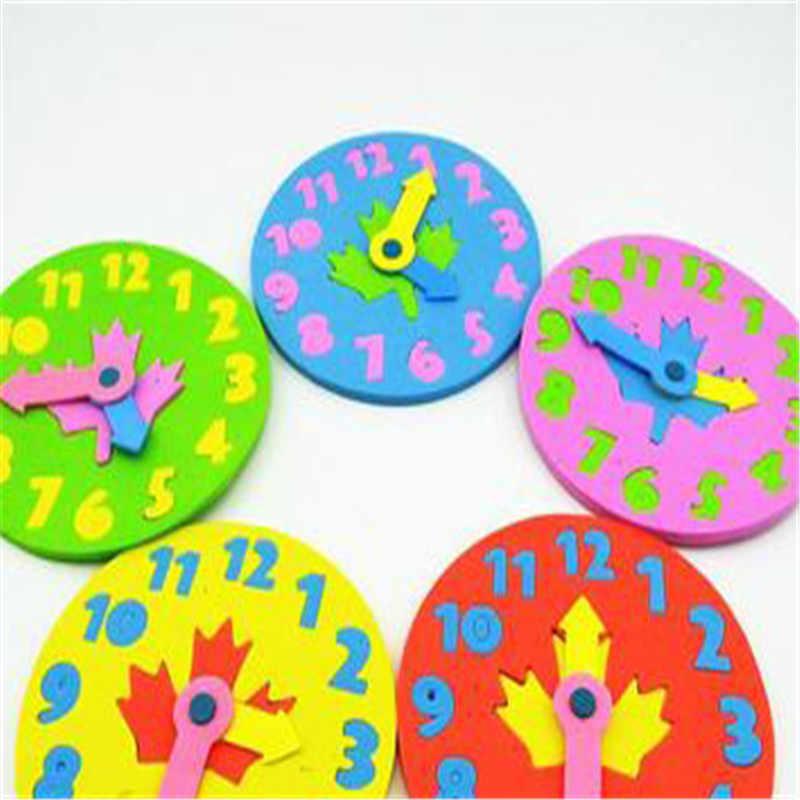 VENDA QUENTE 3 pcs Crianças Brinquedo Relógio DIY Relógio Eva Aprendizagem Educação brinquedos Divertido Jogo de Matemática para Crianças Presentes Do Brinquedo Do Bebê 3-6 Anos velho