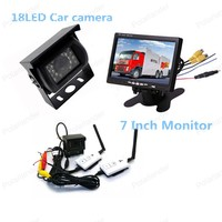 7 Inch TFT LCD Car Rear View Monitor with Parking HDMI + 18 LED rearviwe camera wireless receiver transmitter kit