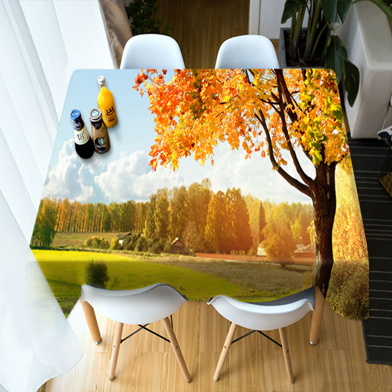 Customizable 3D Round Tablecloth Maple Forest Landscape Pattern Washable Polyester Cotton Rectangular Table Cloth Home textile