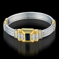 Silver Bangle Bracelet For Women Men Bohemian Jewelry Wholesale Gold Silver Plated 9MM Cuff Open Bangle