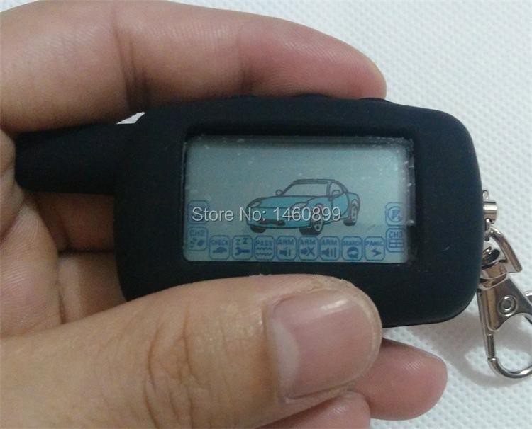 2-way LCD Touche De La Télécommande Fob Keychain + Tamarack Silicone Clé cas pour la Version Russe Starline A6 Deux Voies Système D'alarme de Voiture