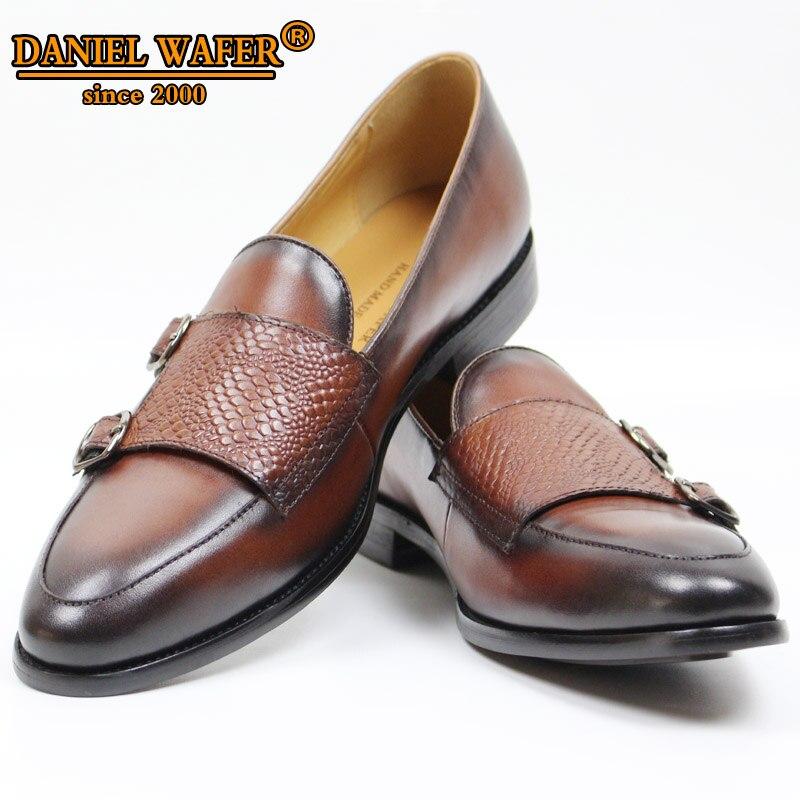 الفاخرة العلامة التجارية الرجال أحذية من الجلد اليدوية الراهب حزام الانزلاق على الصلبة البني الأسود المتسكعون الرجال مكتب الزفاف حذاء كاجوال الرجال جلدية-في أحذية رجالية غير رسمية من أحذية على  مجموعة 1