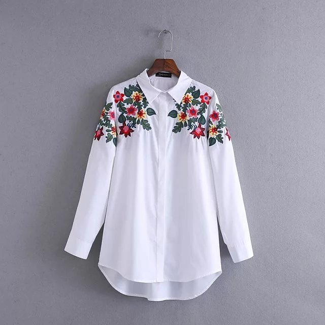 Women's Floral Embroidered Button down Long Shirt