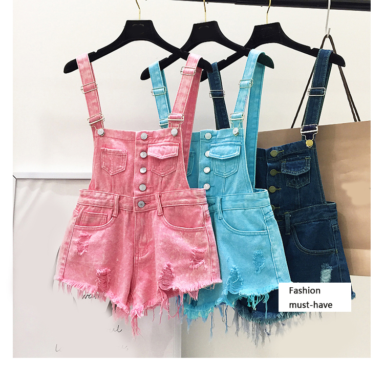 New style college wind cowboys back to wear shorts women summer holes loose Korean version of students show thin suspenders pants (15)