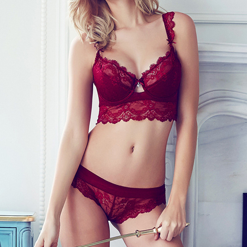a71f979183f7 1Set Women's Sexy Bra Set Ultra thin Lace Bra Brief Sets Plus Size  Brassiere Push Up Bra And Sexy Panties Female Underwear Set-in Bra & Brief  Sets from ...