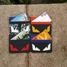 Echtes leder Fashion Männer Geldbörse Frauen Kleine Kreditkarte Brieftasche Mini Kleine Monster Ultral Dünne Geld Tasche