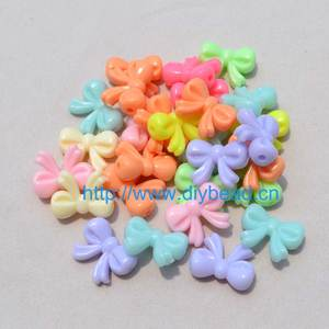 100 pcs/lot shipping free DIY Necklace Department,Cartoon Bow Light Mix Color Acrylic beads,20*15MM Jewelry Findings