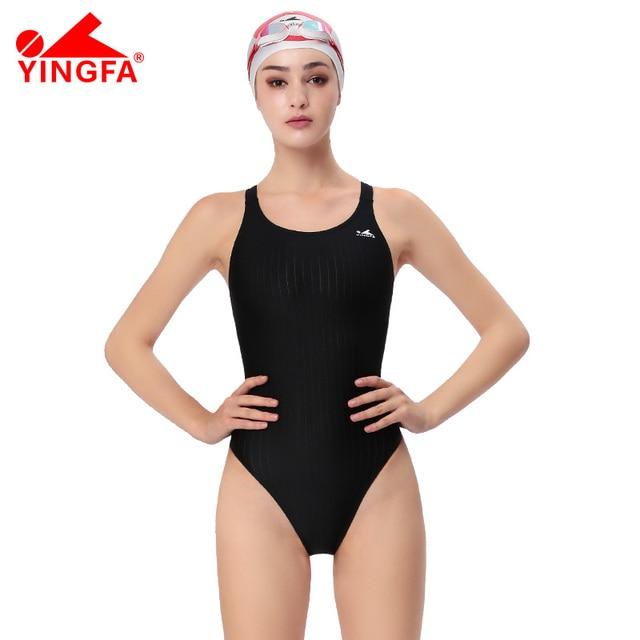7e2942ae48771 YINGFA One piece training competition Swimwear Fina approved Women  waterproof sharkskin girl s Swimwear plus size bathing suits