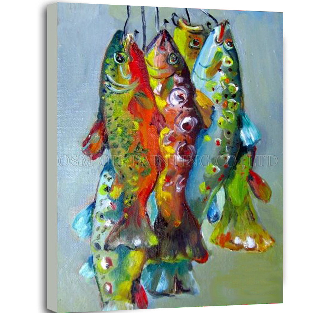 Artist handmade high quality abstract fish oil painting on for High quality fish oil