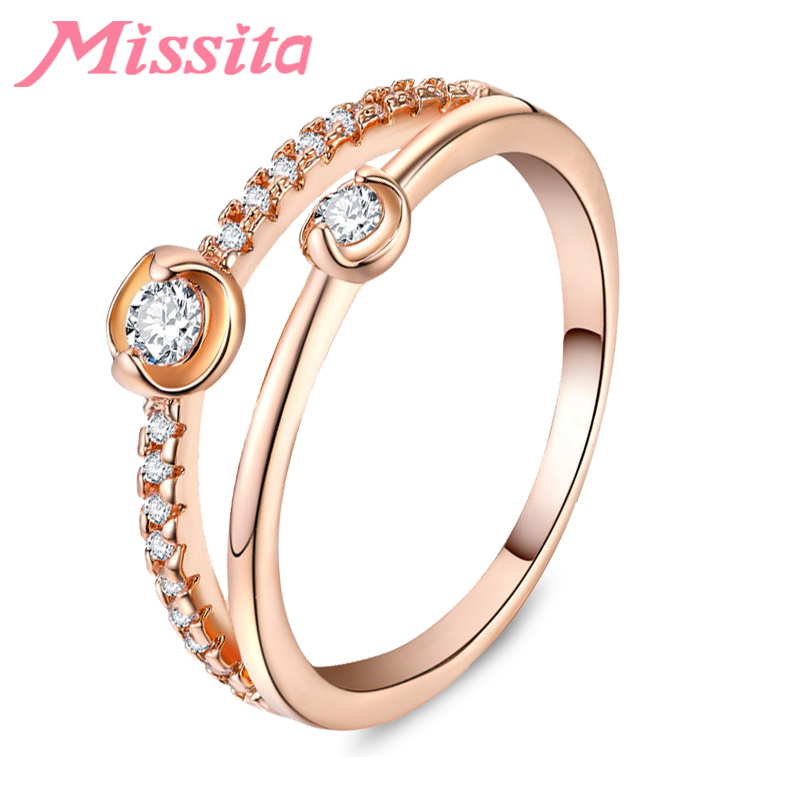 MISSITA Classic Wedding Finger Ring Rose Gold Color Rings For Women with Gemini Zircon Brand Anniversary HOT SELL Gift