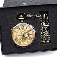 Luxury High Quality Golden Moon Phase Mechanical Pocket Watch Roman Number Tourbillon Dial Pendant Chain Men Women PJX1398