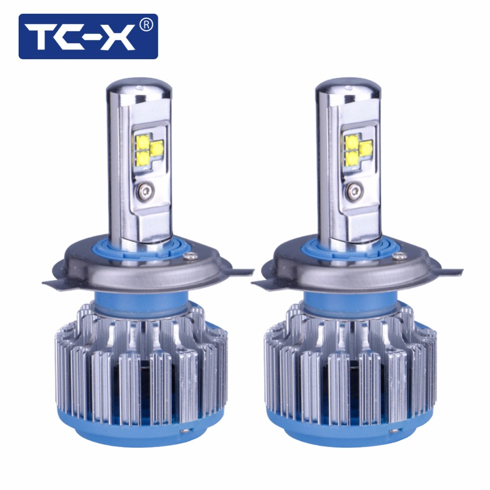 TC-X 2 Pieces Car LED Headlight Bulbs Kit H4 Hi/Lo 9003 HB2 Main Beam Dipped Beam 12V 6000K White Halogen Replacement Auto Lamp  2pcs car headlight bulbs dipped beam