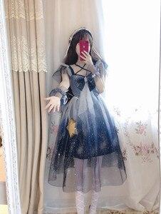 Image 3 - Lolita cielo Stellato Mesh dress Sailor Moon Grande arco Fionda vestito Blu e bianco gradiente di Ragazza Carina