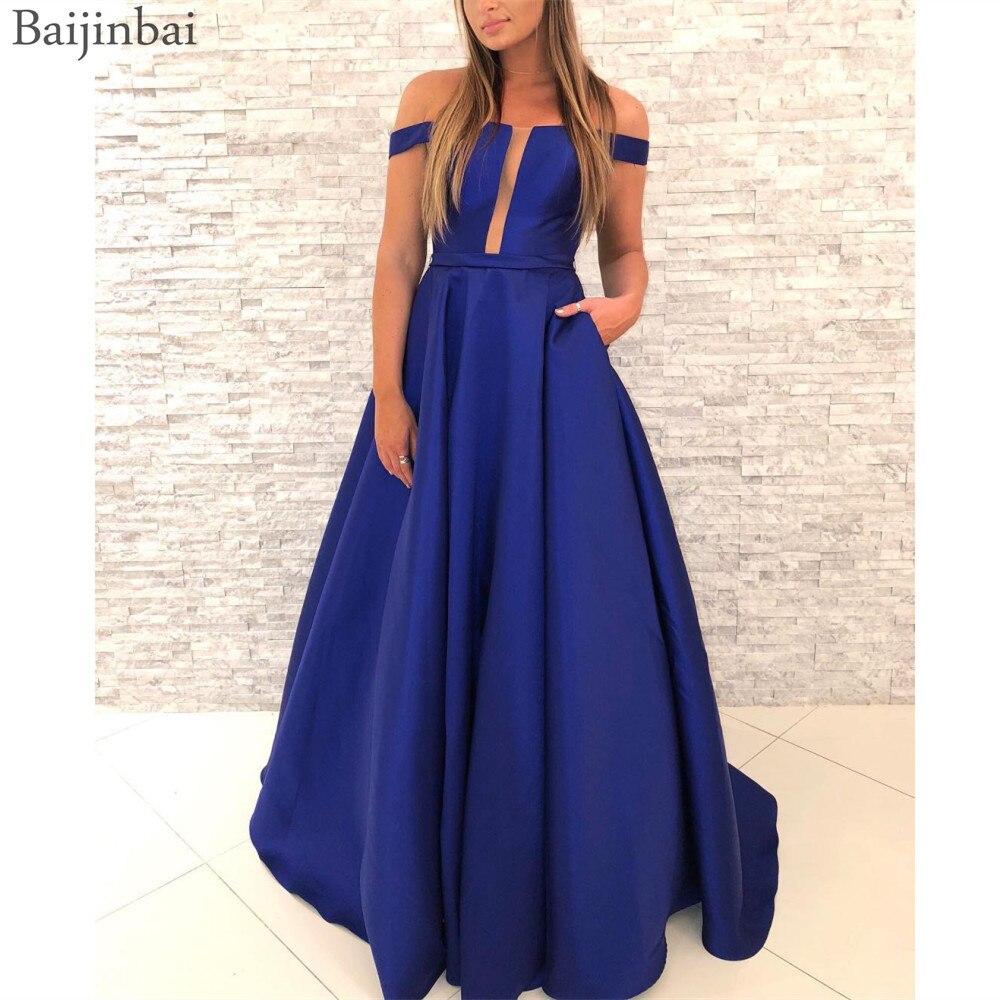 Baijinbai Off the Shoulder   Prom     Dresses   Sheer Mesh Neckline Formal Vestidos Full Length Satin Party Evening Gowns with Pockets