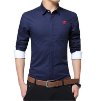 5XL Pure Cotton Embroidery Men Solid Color Dress Shirt Retro Long Sleeve Slim Fit Fancy Shirts