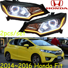 Fit headlight,Jazz,2014~2016(LHD,RHD),Free ship! Fit daytime light,2ps/se+2pcs Aozoom Ballast,crosstour,city,Fit Jazz