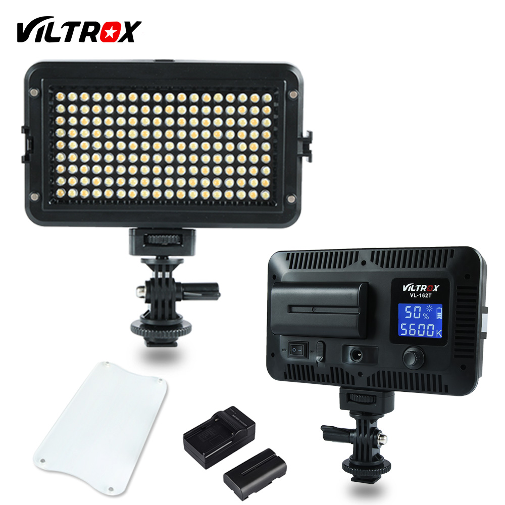 Viltrox VL-162T LED Studio Video Light Lamp LCD Display Bi-Color Dimmable For Wedding Canon Camera Camcorder+Battery+Charger viltrox vl 200 pro wireless remote led video studio light lamp slim bi color dimmable ac power adapter for camcorder camera