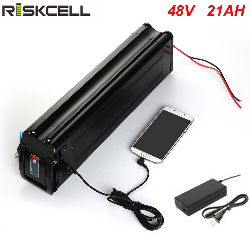 No taxes silver fish style with USB port e-bike battery 48v 21ah li-ion battery pack Use Sanyo cell fit 48v 1000w bafang motor free customs taxes and shipping li ion ebike battery pack 24v 8ah 350w electric bike kit battery hailong e bike with charger