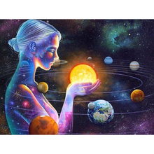 5D Diy Diamond Painting Cross Stitch full Square Round Diamond Embroidery Girl and the Milky Way picture for room Decor H938 цены онлайн