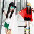 New Girls Children's Fake Two Piece Chiffon Cape Shawl Sunscreen Shirts White Red Kids Clothing