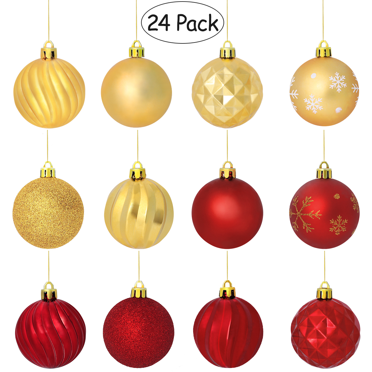 buy popular b6bb1 9de29 US $10.5 38% OFF|24PCS Christmas Ball Ornaments with String Shatterproof  Hanging Small Balls Tree Ornaments Decoration for Party Holiday Wedding-in  ...