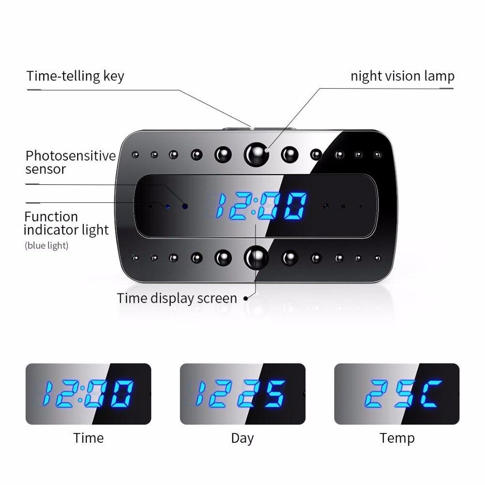 1080 P WIFI Mini Macchina Fotografica Tempo di Allarme Senza Fili Nanny Orologio P2P IP/AP di Sicurezza di Visione Notturna di Rilevazione di movimento Per La Casa segreto nascosto TFcar